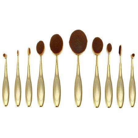 10 oval brush set gold